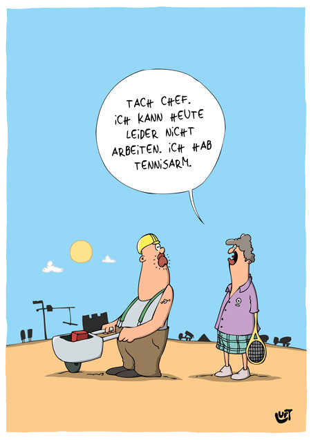 Thomas Luft, Cartoon, Lustig, Tennisarm