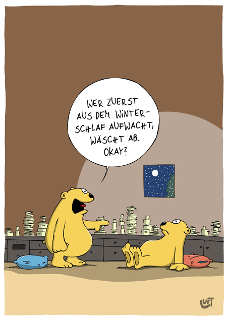 Thomas Luft, Cartoon, Lustig, Winterschlaf