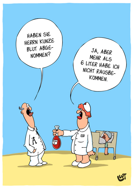 Thomas Luft, Cartoon, Lustig,  Blutabnahme