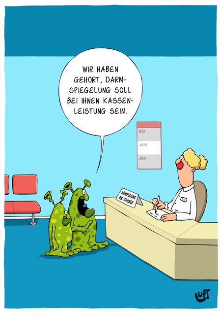 Thomas Luft, Cartoon, Lustig,  Darmspiegelung