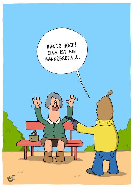 Thomas Luft, Cartoon, Lustig, Banküberfall