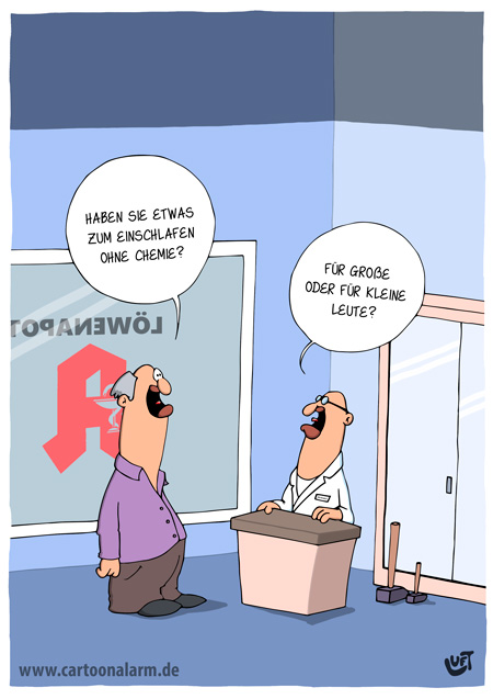 Thomas Luft, Cartoon, Lustig, Schlafen, Apotheke