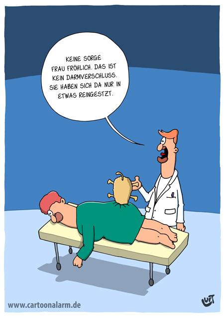 Thomas Luft, Cartoon, Lustig, Arzt, Darmverschluss