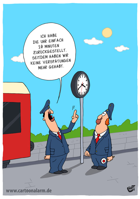 Thomas Luft, Cartoon, Lustig, Uhrzeit