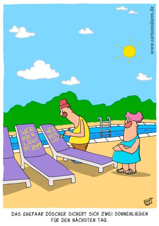 Thomas Luft, Cartoon, lustig, Sonnenliegen