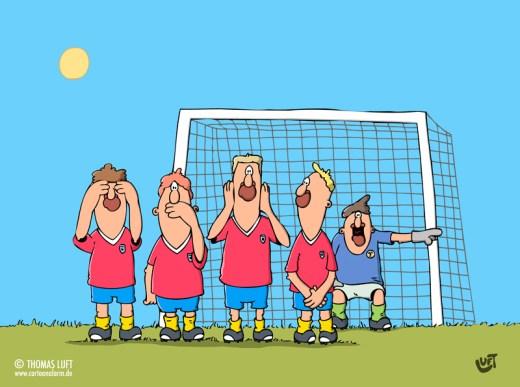 Thomas Luft, Cartoon, lustig, Fußball, Mauer