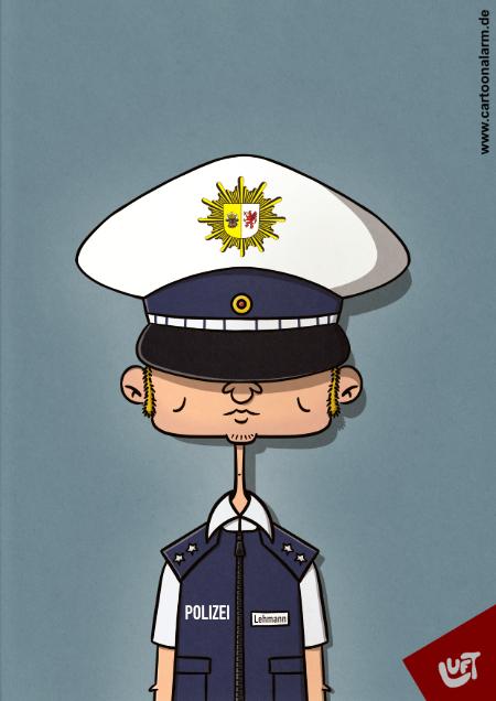Lustige Karikatur eines Polizisten, gezeichnet von Thomas Luft.
