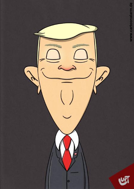 Lustige Karikatur von Donald Trump, gezeichnet von Thomas Luft
