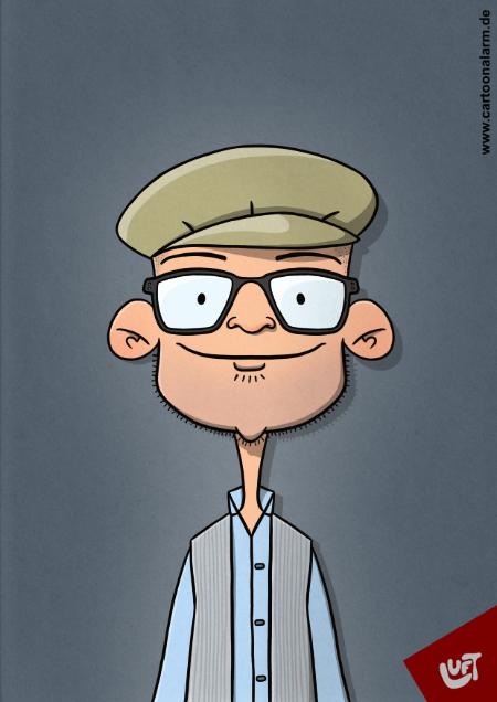 Lustige Karikatur eines Mannes mit Mütze und Brille, gezeichnet von Thomas Luft