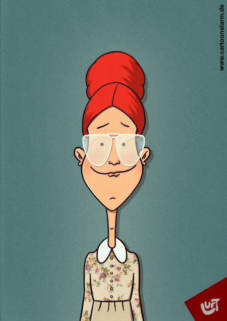 Lustige Karikatur einer jungen Frau mit Brille gezeichnet von Thomas Luft
