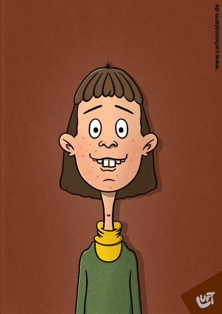 Lustige Karikatur eines Teenagers, gezeichnet von Thomas Luft.