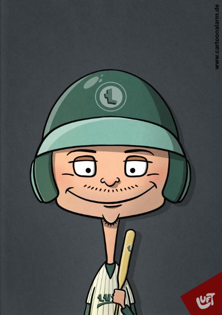 Lustige Karikatur eines Baseball-Spielers, gezeichnet von Thomas Luft.