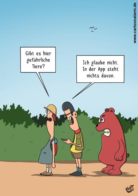 Cartoon von Thomas Luft zum Thema gefährliche Tiere