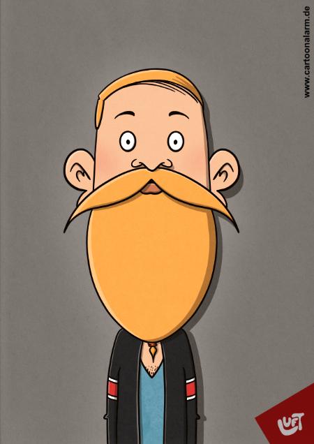 Lustige Karikatur eines jungen Mannes mit Vollbart, gezeichnet von Thomas Luft.