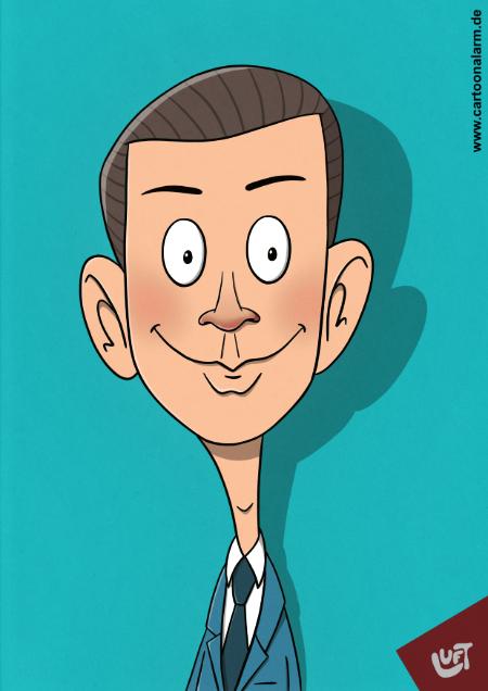 Lustige Karikatur vonSebastian Kurz, gezeichnet von Thomas Luft.