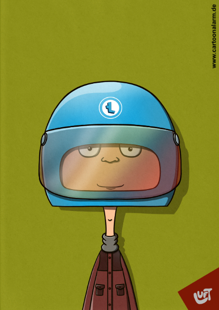 Lustige Karikatur eines Jungen mit Helm (Tommy H.), gezeichnet von Thomas Luft.
