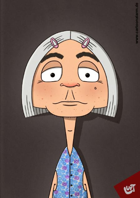 Lustige Karikatur einer alten Frau (Hannelore A.) mit grauen Haaren und Kittelschürze, gezeichnet von Thomas Luft.