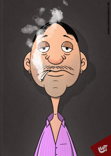 Lustige Karikatur eines rauchenden Mannes (Silvio C.), gezeichnet von Thomas Luft.