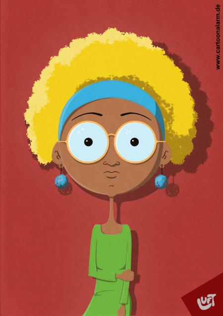 Lustige Karikatur einer Frau (Jacky M.) mit blonden, lockigen Haaren und Brille, gezeichnet von Thomas Luft.