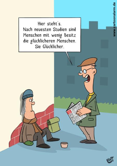 Cartoon von Thomas Luft zum Thema Glücklichsein