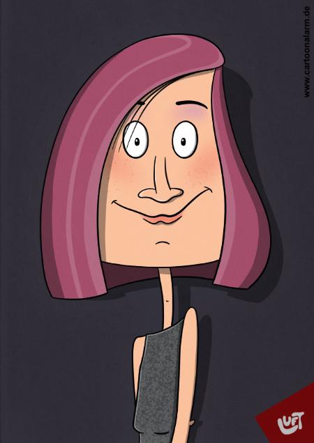 Lustige Karikatur einer Frau (Anke M.) mit roten Haaren, gezeichnet von Thomas Luft.