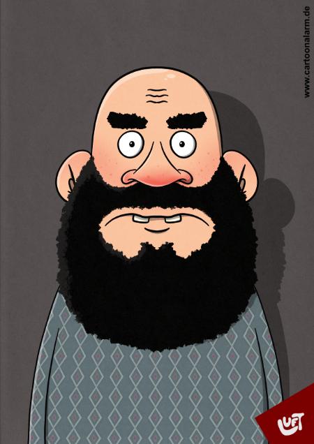 Lustige Karikatur eines Mannes (Bernhard U.) mit Vollbart, gezeichnet von Thomas Luft.