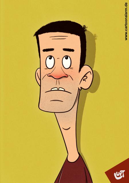 Lustige Karikatur eines Mannes (Marko E.) mit kurzen schwarzen Haaren, gezeichnet von Thomas Luft.