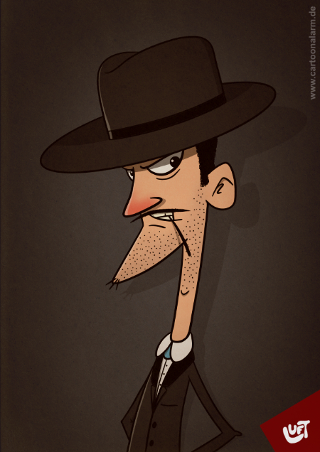Lustige Karikatur eines Mannes (Ben L.) aus dem Wilden Westen, gezeichnet von Thomas Luft.