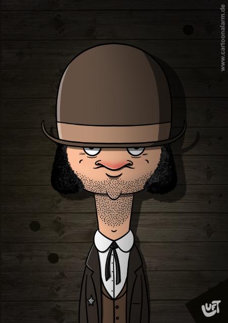 Lustige Karikatur eines Cowboys (Petro M.), gezeichnet von Thomas Luft.