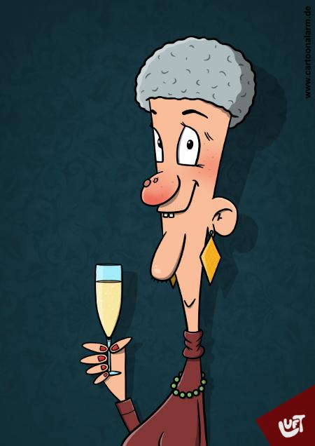 Lustige Karikatur einer alten Dame (Hedwig W.) mit Sektglas, gezeichnet von Thomas Luft.