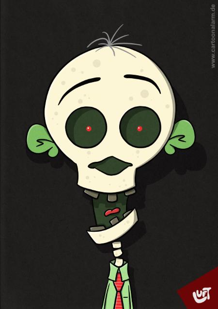 Lustige Karikatur eines Skeletts (Deady T.), gezeichnet von Thomas Luft.