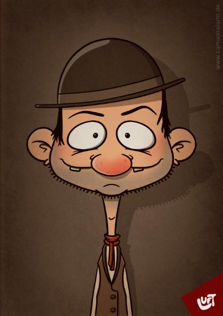 Lustige Karikatur eines Cowboys (Benny E.), gezeichnet von Thomas Luft.