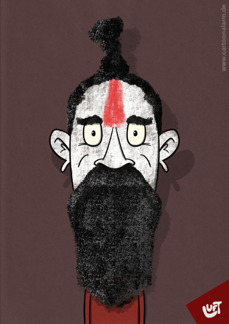 Karikatur eines hinduistischen Mönchs (Shiva l.), gezeichnet von Thomas Luft.
