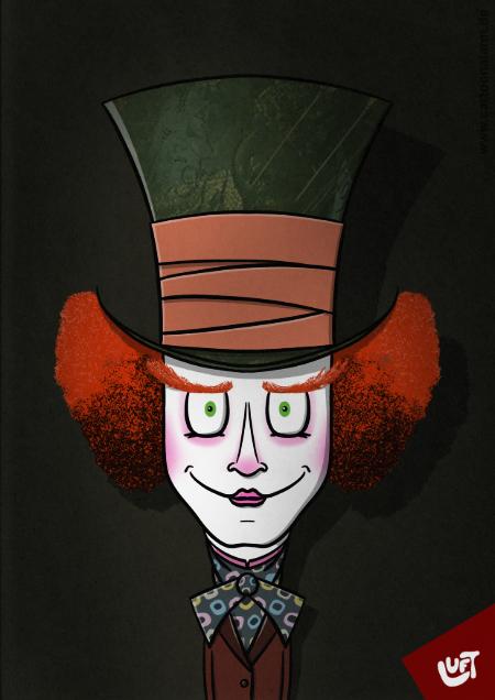Lustige Zeichnung vom Hutmacher aus Alice im Wunderland, gezeichnet von Thomas Luft.