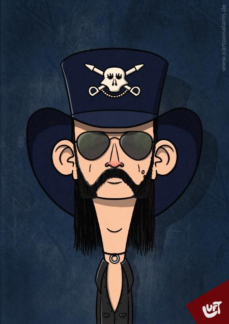 Lustige Karikatur von Lemmy Kilmister, gezeichnet von Thomas Luft.
