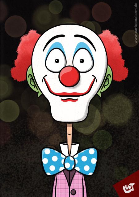 Lustige Karikatur eines Clowns mit Fliege, gezeichnet von Thomas Luft.