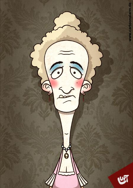 Lustige Karikatur einer Gräfin, gezeichnet von Thomas Luft.