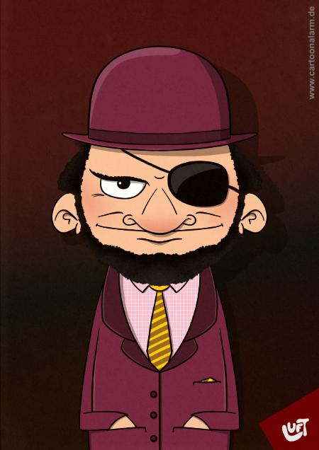 Lustige Karikatur eines Mannes (Paul W.) mit Augenklappe, gezeichnet von Thomas Luft.