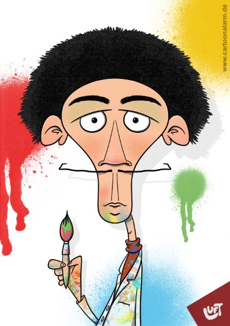 Lustige Karikatur eines Malers (Silvio B.), gezeichnet von Thomas Luft.
