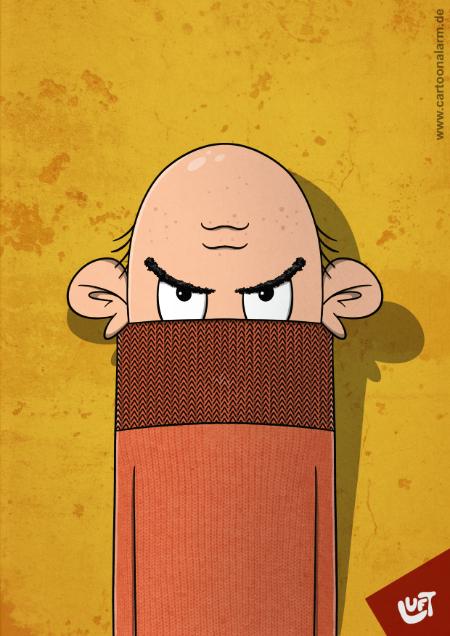Lustige Karikatur eines Mannes (Gerd H.) mit Glatze, gezeichnet von Thomas Luft.
