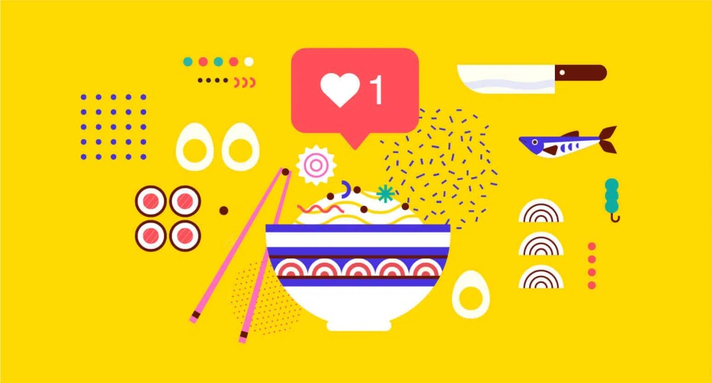 Abstract visualisation of Instagram like button with Asian dish