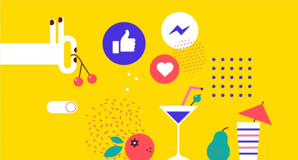 Abstract visualisation of Facebook like and share buttons with cocktail glass