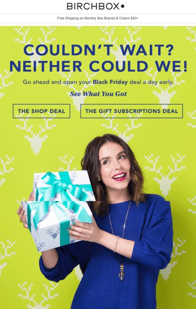 birchbox delivers well designed yet simple newsletters