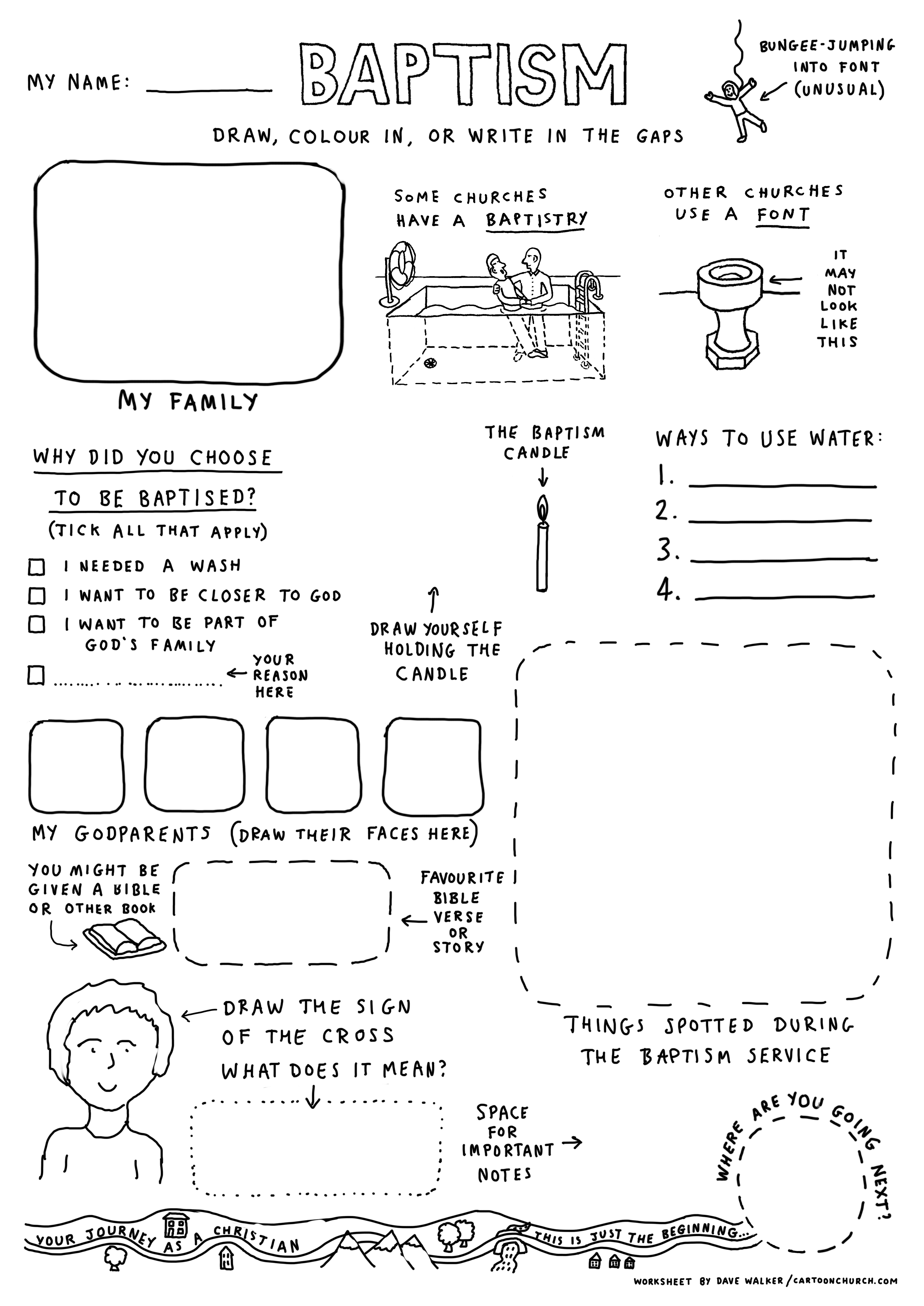 Cartoon Worksheet Baptism