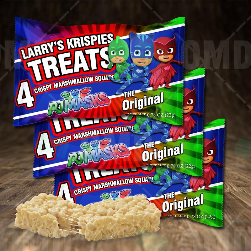 Pj Masks Birthday Party Rice Krispies Treat Wrappers Cartoon Invites
