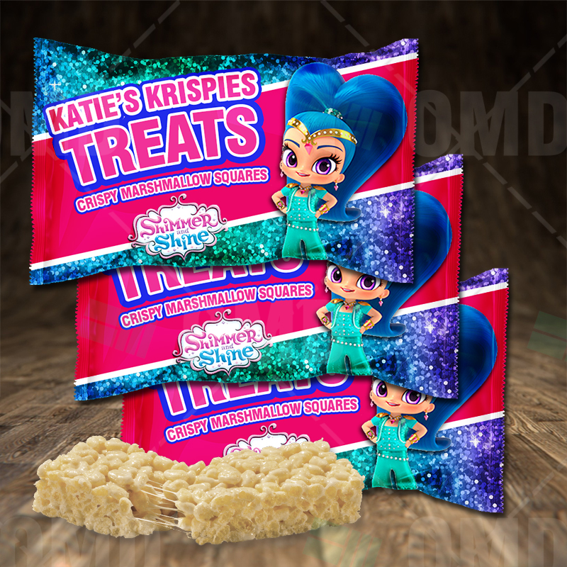 Shimmer And Shine Birthday Party Rice Krispies Treat Wrappers Cartoon Invites