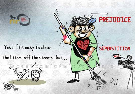 ERADICATING SUPERSTITIONS cartoon by Nituparna Rajbongshi