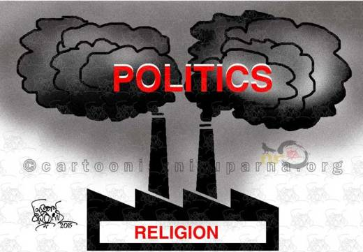 Religion yielded Politics cartoon by Nituparna Rajbongshi