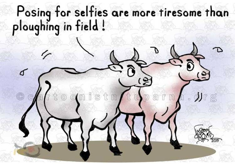 selfie craze cartoon by Nituparna Rajbongshi.