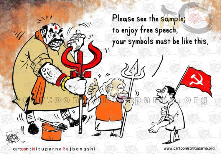 Conditional Free Speech cartoon by Nituparna Rajbongshi
